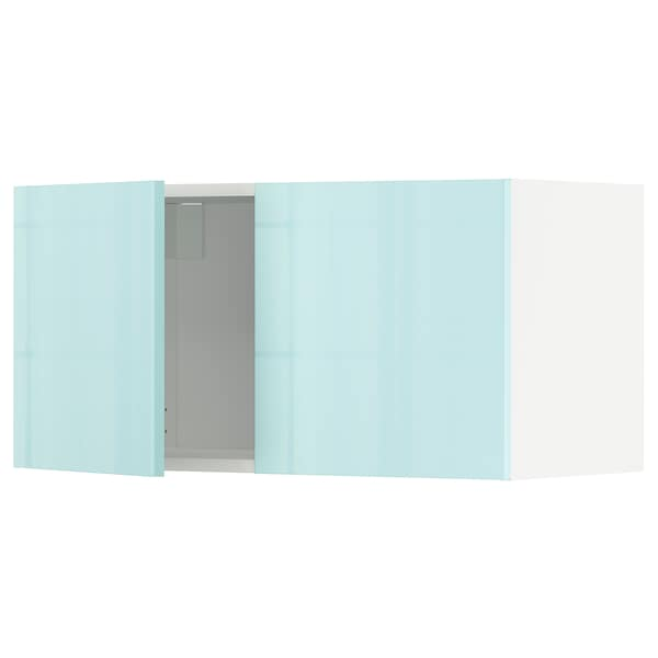 METOD خزانة حائط مع بابين, أبيض Järsta/لامع تركواز فاتح, 80x40 سم