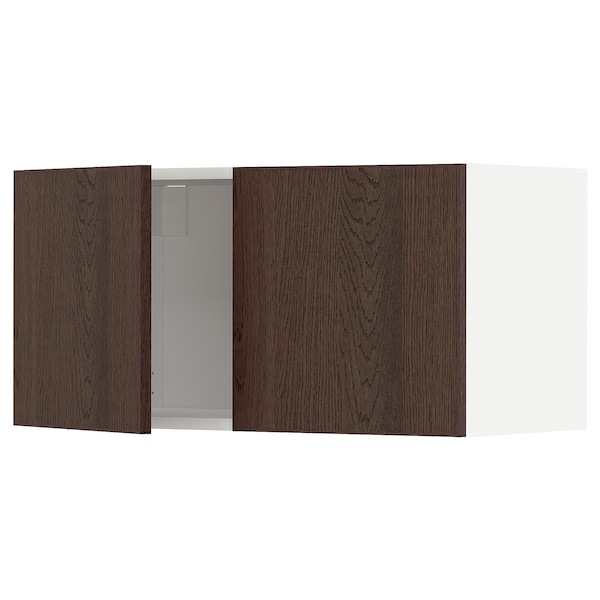 METOD خزانة حائط مع بابين, أبيض/Sinarp بني, 80x40 سم