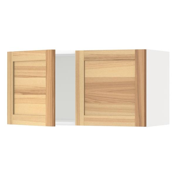 METOD خزانة حائط مع بابين, أبيض/Torhamn رماد, 80x40 سم