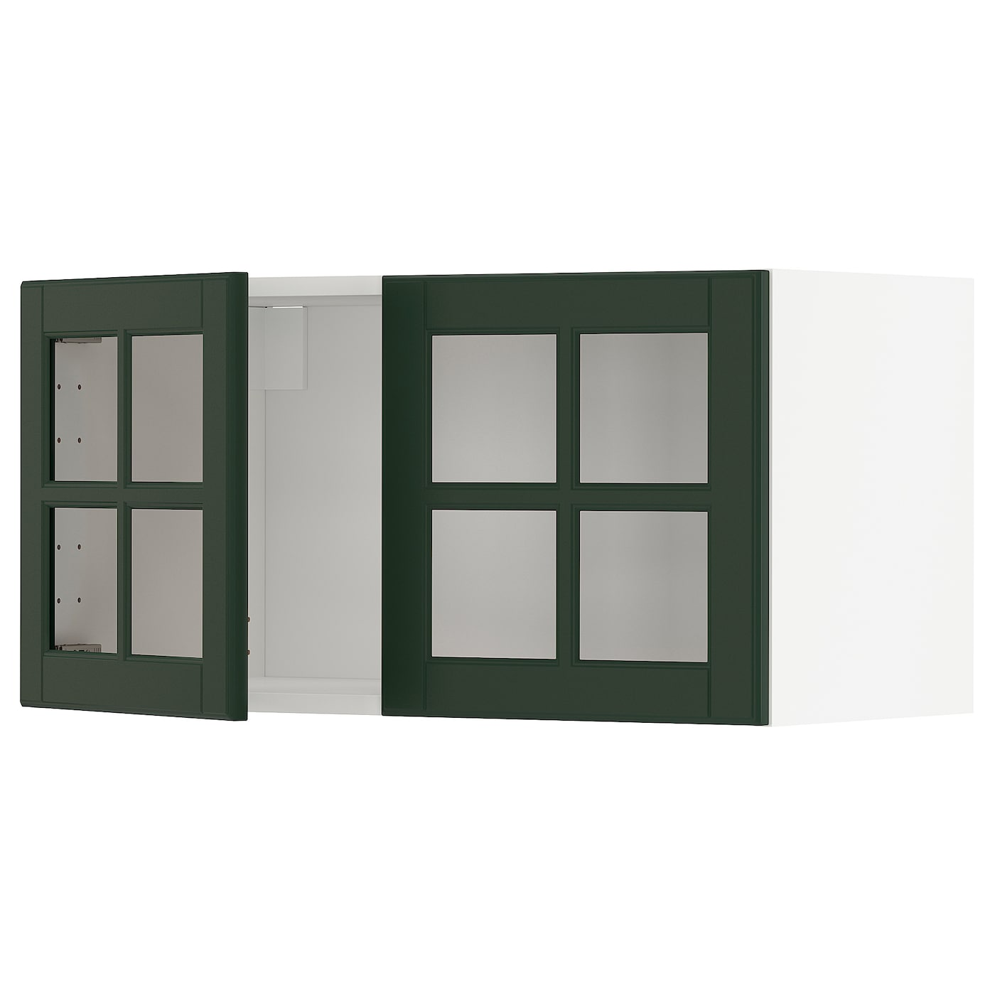Wall Cabinet With 2 Glass Doors Metod White Bodbyn Dark Green