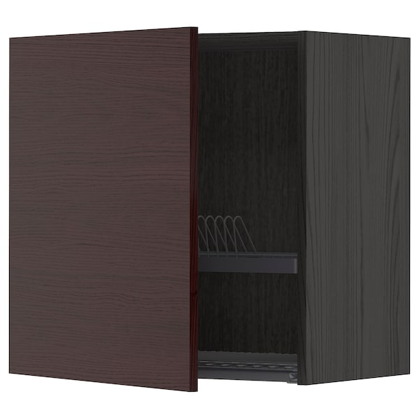 METOD Wall cabinet with dish drainer, black Askersund/dark brown ash effect, 60x60 cm
