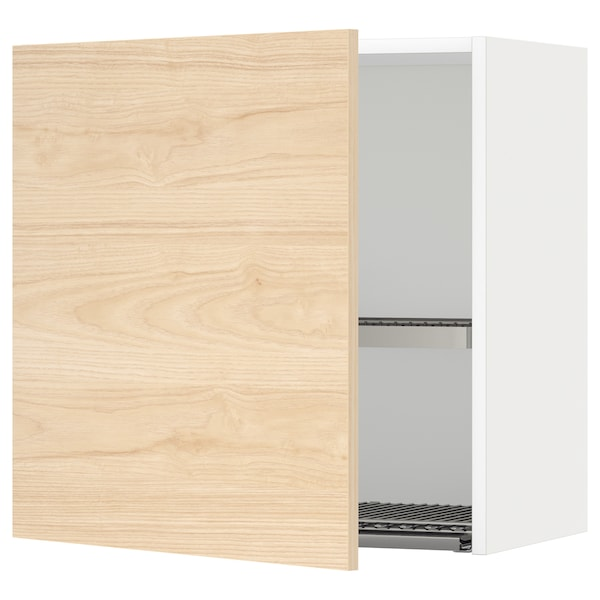 METOD Wall cabinet with dish drainer, white/Askersund light ash effect, 60x60 cm
