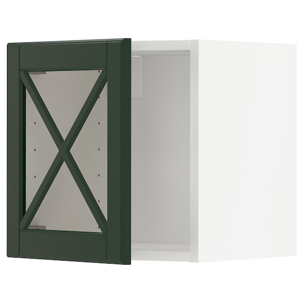 METOD Wall cabinet with glass door, white/Bodbyn dark green, 40x40 cm
