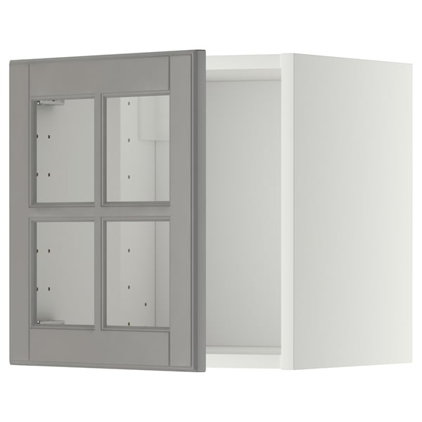 METOD Wall cabinet with glass door, white/Bodbyn grey, 40x40 cm