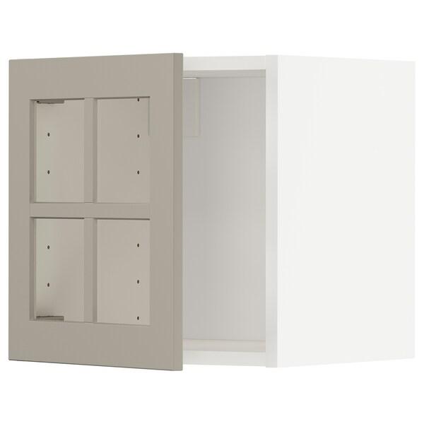 METOD Wall cabinet with glass door, white/Stensund beige, 40x40 cm