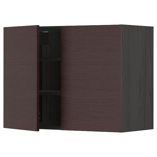 METOD Wall cabinet with shelves/2 doors, black Askersund/dark brown ash effect, 80x60 cm