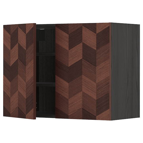 METOD Wall cabinet with shelves/2 doors, black Hasslarp/brown patterned, 80x60 cm