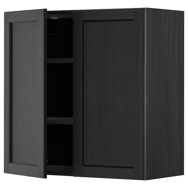 METOD خزانة حائط مع أرفف/بابين, أسود/Lerhyttan صباغ أسود, 80x80 سم