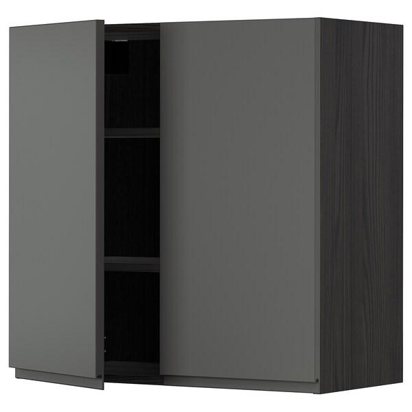 METOD Wall cabinet with shelves/2 doors, black/Voxtorp dark grey, 80x80 cm