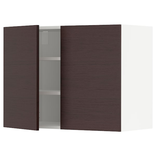 METOD Wall cabinet with shelves/2 doors, white Askersund/dark brown ash effect, 80x60 cm