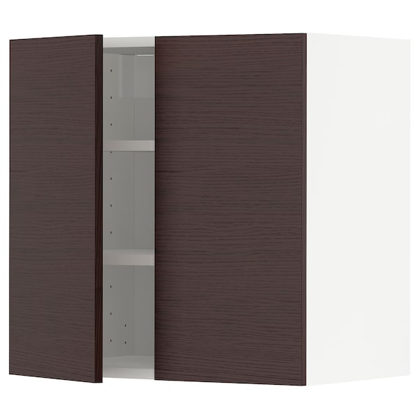 METOD Wall cabinet with shelves/2 doors, white Askersund/dark brown ash effect, 60x60 cm