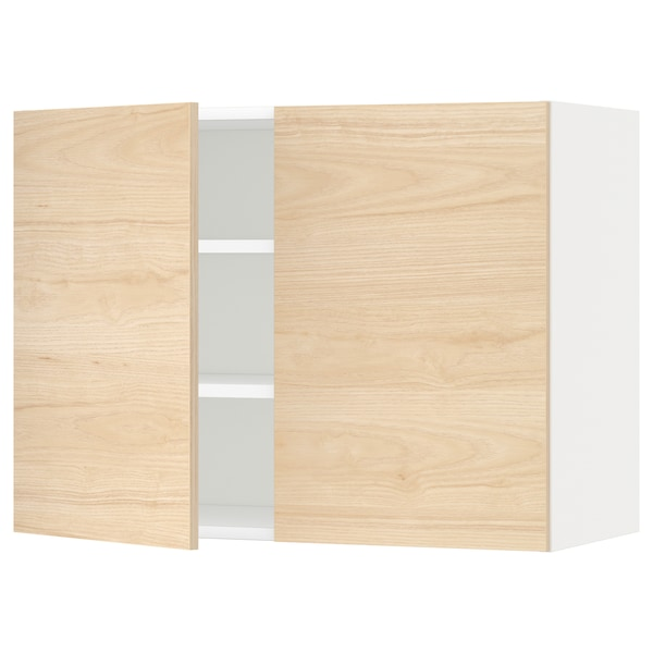 METOD Wall cabinet with shelves/2 doors, white/Askersund light ash effect, 80x60 cm