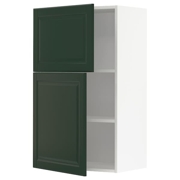 METOD Wall cabinet with shelves/2 doors, white/Bodbyn dark green, 60x100 cm