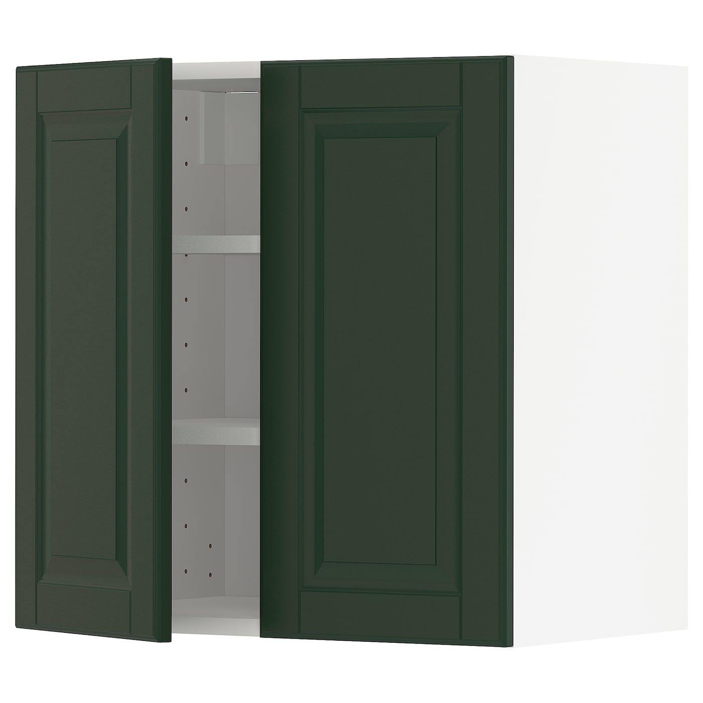 Wall Cabinet With Shelves 2 Doors Metod White Bodbyn Dark Green