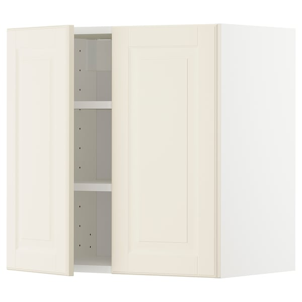 METOD Wall cabinet with shelves/2 doors, white/Bodbyn off-white, 60x60 cm