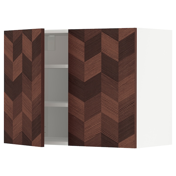 METOD Wall cabinet with shelves/2 doors, white Hasslarp/brown patterned, 80x60 cm