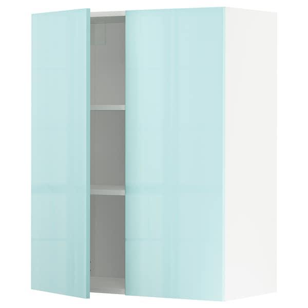 METOD Wall cabinet with shelves/2 doors, white Järsta/high-gloss light turquoise, 80x100 cm