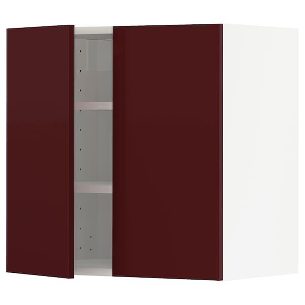 METOD Wall cabinet with shelves/2 doors, white Kallarp/high-gloss dark red-brown, 60x60 cm