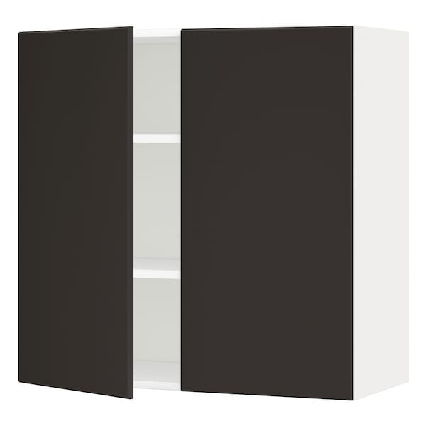 METOD Wall cabinet with shelves/2 doors, white/Kungsbacka anthracite, 80x80 cm