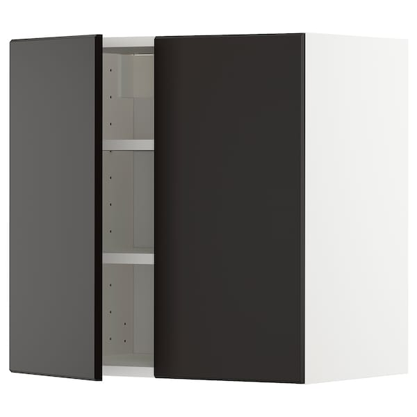 METOD Wall cabinet with shelves/2 doors, white/Kungsbacka anthracite, 60x60 cm