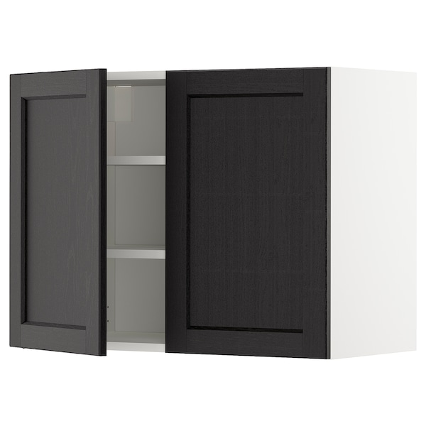 METOD Wall cabinet with shelves/2 doors, white/Lerhyttan black stained, 80x60 cm