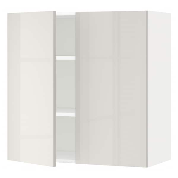 METOD Wall cabinet with shelves/2 doors, white/Ringhult light grey, 80x80 cm
