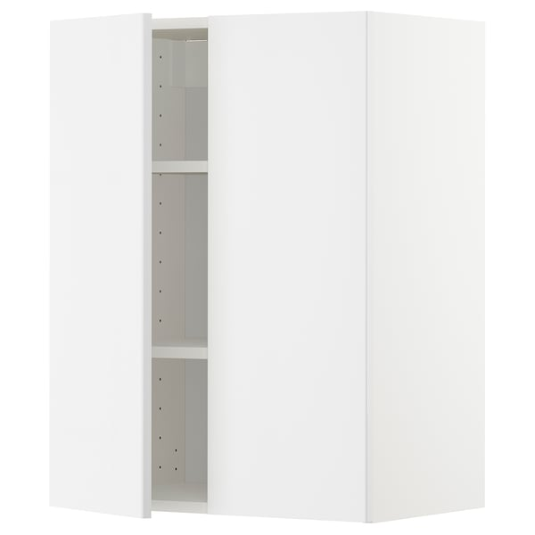 METOD Wall cabinet with shelves/2 doors, white/Ringhult white, 60x80 cm