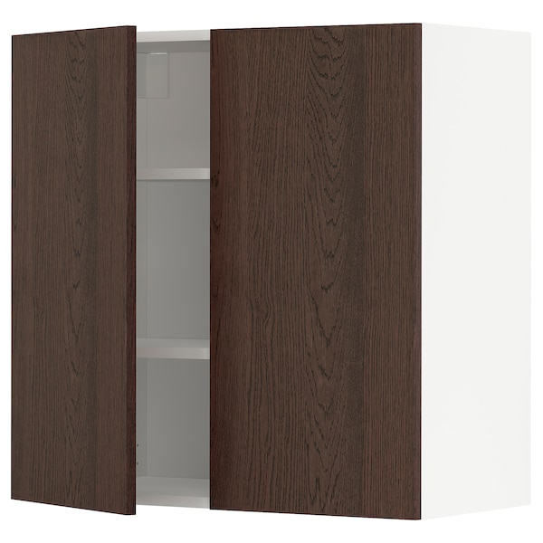 METOD Wall cabinet with shelves/2 doors, white/Sinarp brown, 80x80 cm