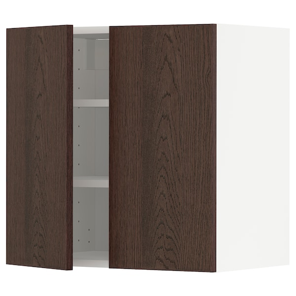 METOD Wall cabinet with shelves/2 doors, white/Sinarp brown, 60x60 cm