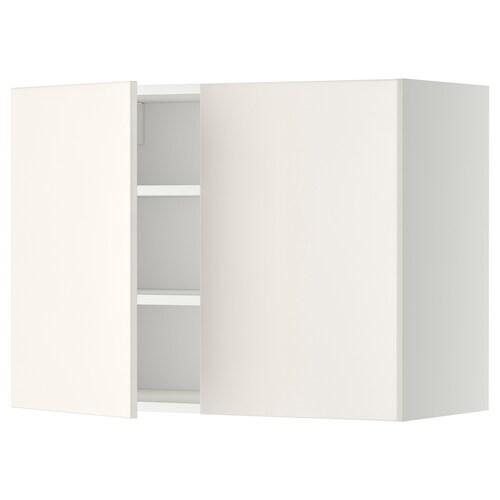 METOD wall cabinet with shelves/2 doors white/Veddinge white 80.0 cm 38.6 cm 60.0 cm