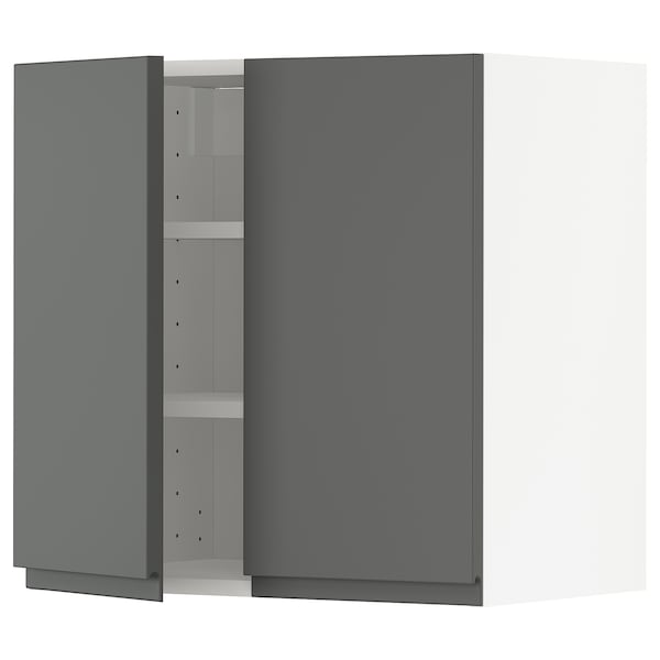 METOD Wall cabinet with shelves/2 doors, white/Voxtorp dark grey, 60x60 cm