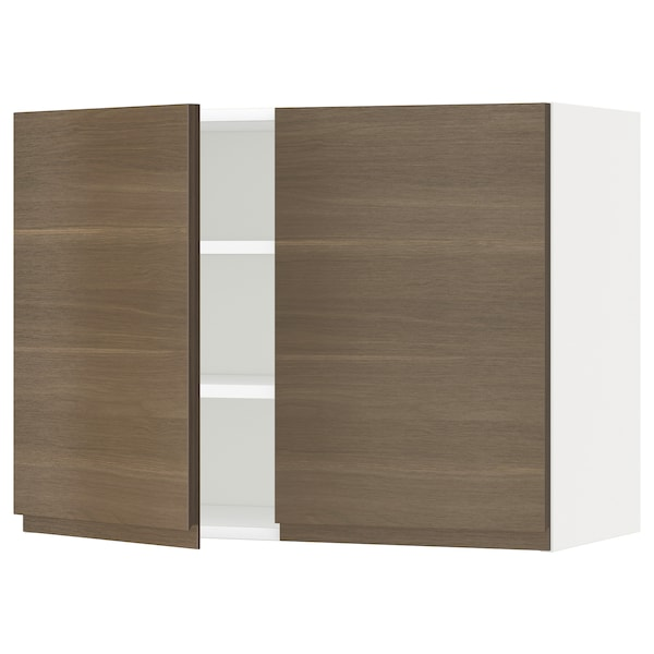 METOD Wall cabinet with shelves/2 doors, white/Voxtorp walnut effect, 80x60 cm