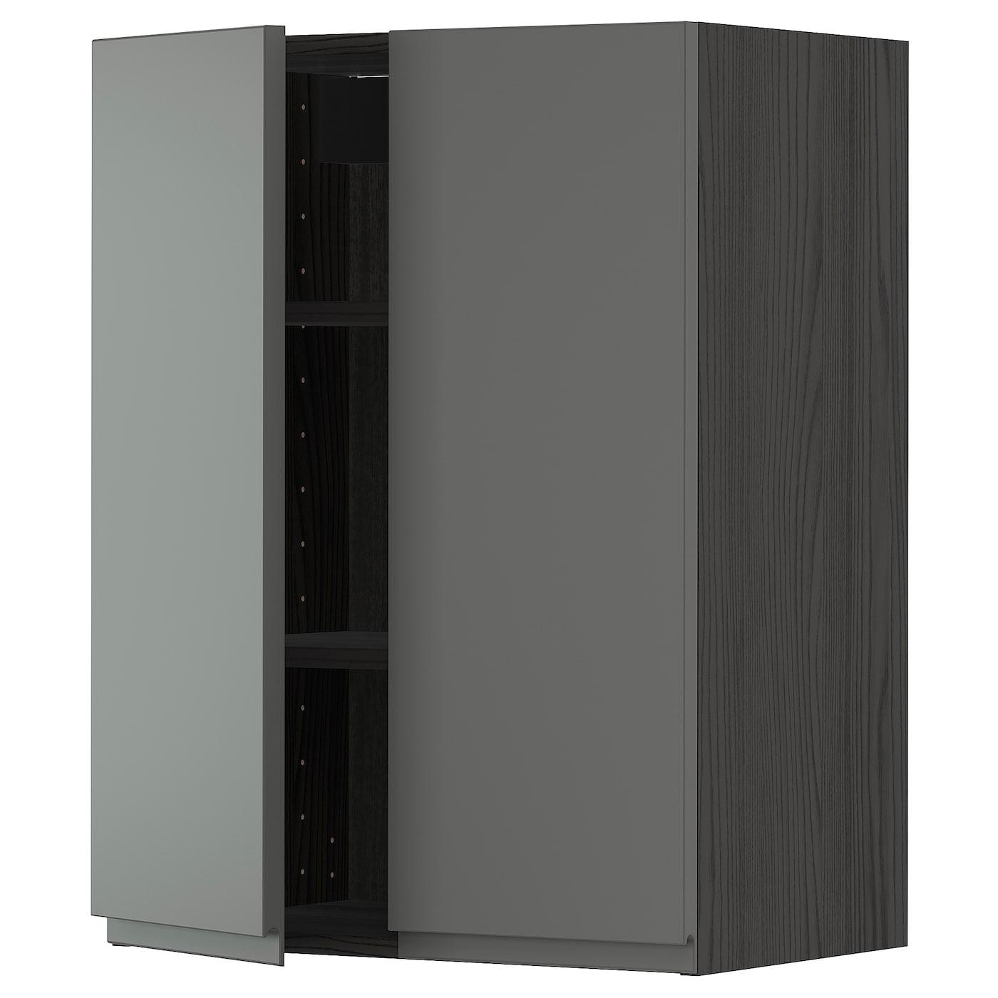 Wall Cabinet With Shelves 2 Doors Metod Black Voxtorp Dark Grey