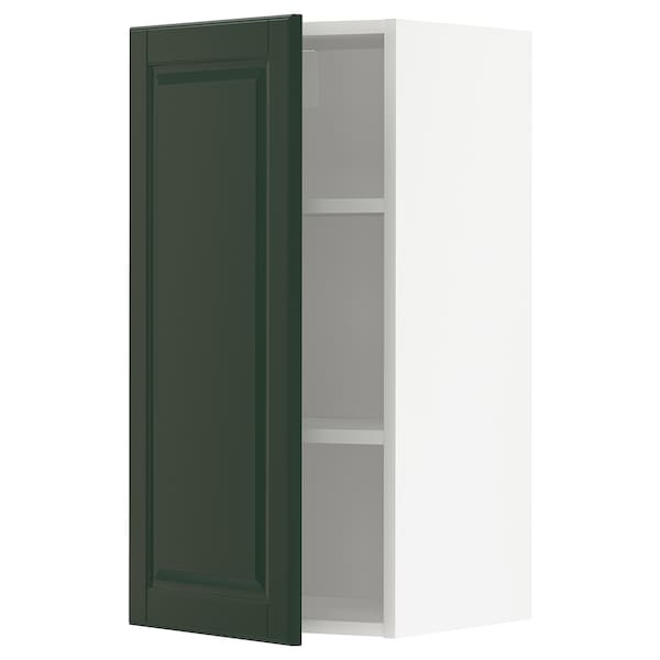 METOD Wall cabinet with shelves, white/Bodbyn dark green, 40x80 cm