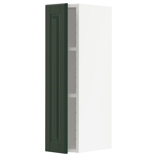METOD Wall cabinet with shelves, white/Bodbyn dark green, 20x80 cm