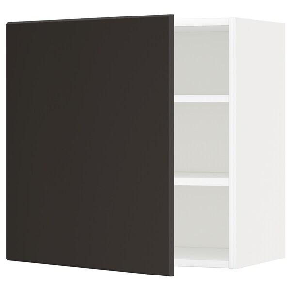 METOD خزانة حائط مع أرفف, أبيض/Kungsbacka فحمي, 60x60 سم