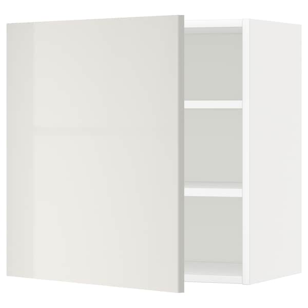 METOD Wall cabinet with shelves, white/Ringhult light grey, 60x60 cm
