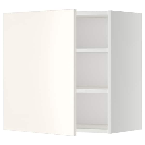 METOD Wall cabinet with shelves, white/Veddinge white, 60x60 cm