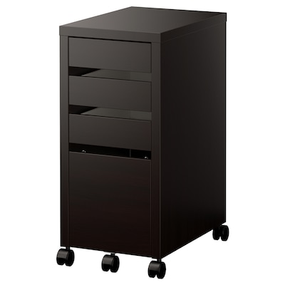 MICKE Drawer unit with drop-file storage, black-brown, 35x75 cm