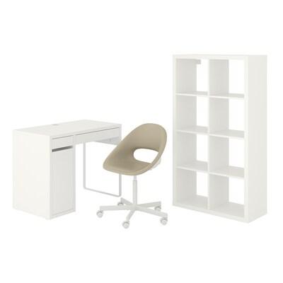 MICKE/ELDBERGET / KALLAX تشكيلات المكاتب والتخزين, و كرسي دوار أبيض/بيج