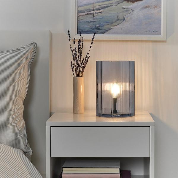 MIKROKLIN مصباح طاولة, زجاج أزرق, 22 سم