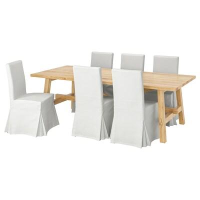 MÖCKELBY / HENRIKSDAL طاولة و 6 كراسي, سنديان بني غامق/Blekinge أبيض, 235x100 سم