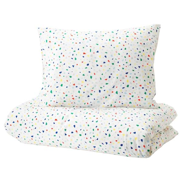 MÖJLIGHET غطاء لحاف و غطاء مخدة, أبيض/نقش فسيفساء, 150x200/50x80 سم