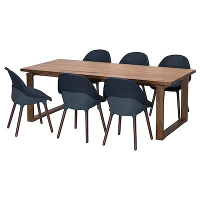 MÖRBYLÅNGA / BALTSAR طاولة و 6 كراسي, قشرة سنديان صباغ بني/أسود-أزرق, 220x100 سم