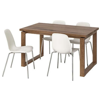 MÖRBYLÅNGA / LEIFARNE Table and 4 chairs, brown/white, 140x85 cm