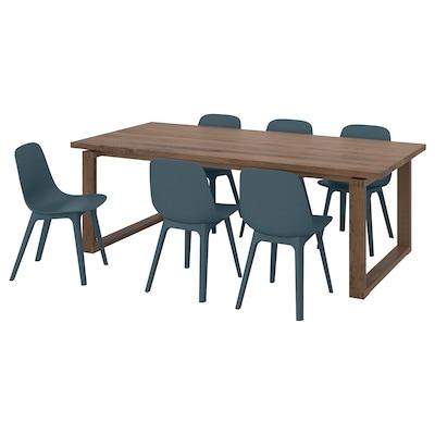 MÖRBYLÅNGA / ODGER طاولة و 6 كراسي, قشرة سنديان/أزرق, 220x100 سم