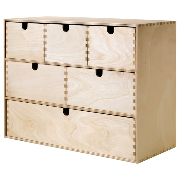 MOPPE Mini chest of drawers, birch plywood, 42x18x32 cm