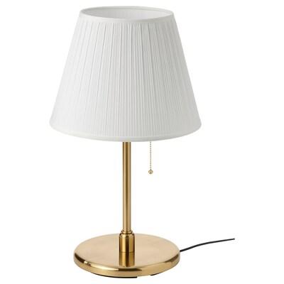 MYRHULT / KRYSSMAST مصباح طاولة, أبيض/طلاء بنحاس أصفر