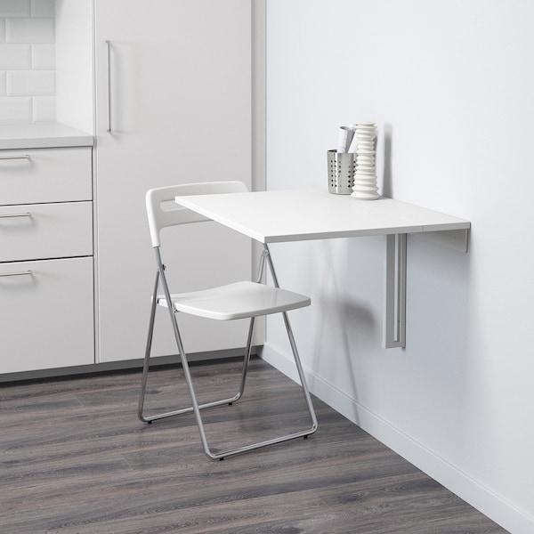 NORBERG / NISSE طاولة و 1 كرسي, أبيض/طلاء كروم أبيض, 74 سم