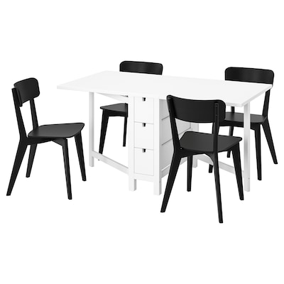 NORDEN / LISABO Table and 4 chairs, white/black, 26/89/152 cm